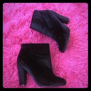 Black Velvet Ankle Booties